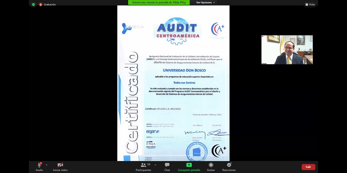 UDB pionera al recibir certificación internacional del diseño de su Sistema Interno de Aseguramiento de Calidad de la Formación