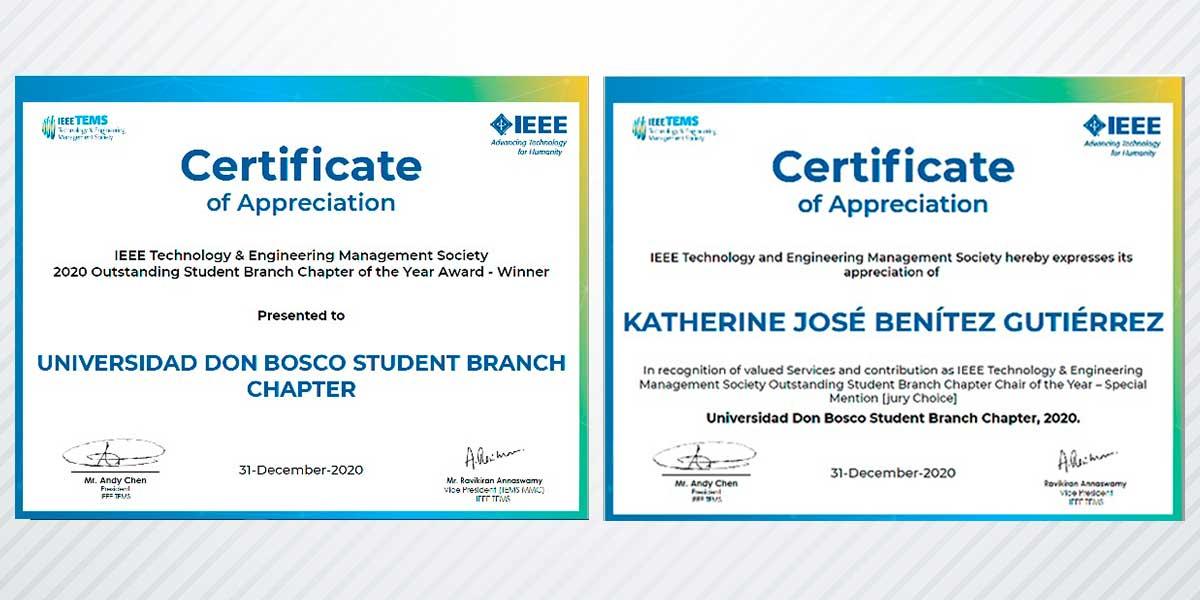 Capítulo IEEE TEMS de la UDB es reconocido a nivel internacional como Mejor Capítulo del año 2020