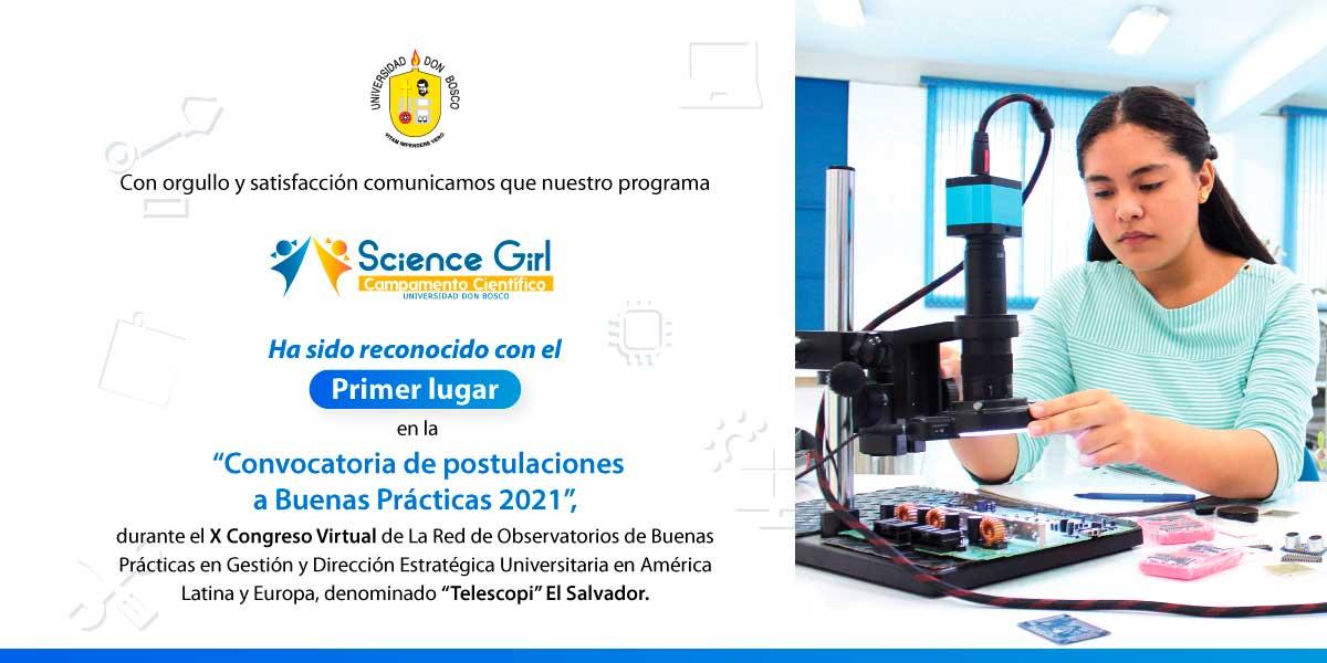 Science Girl Camp UDB obtiene primer lugar como buena práctica 2021 de la red Telescopi